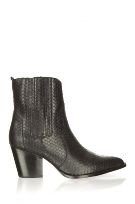 Toral |  Leather ankle boots with scales pattern Jill | black