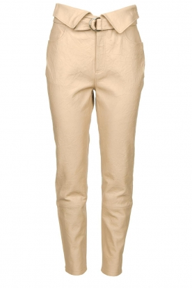 Dante 6 | Leather belted pants Zola | beige