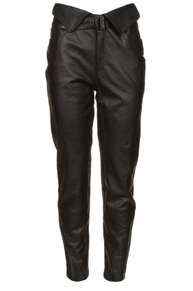 Dante 6 |  Leather pants with belt Zola | black