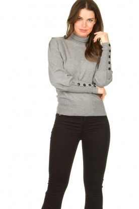 Dante 6 |  Turtle neck with buttons Quentin | grey
