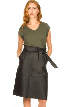 Dante 6 |  Leather midi skirt with tie belt Noora | black