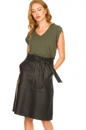 Look Leather midi skirt with tie belt Noora