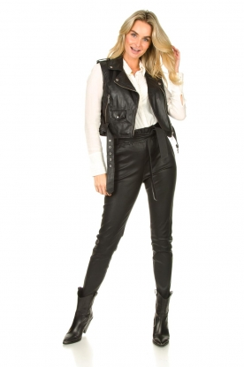 Look Stretch leather paperbag pants Duran