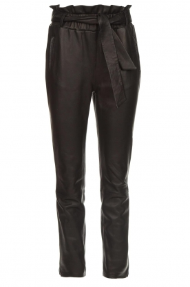 Dante 6 |  Stretch leather paperbag pants Duran | black