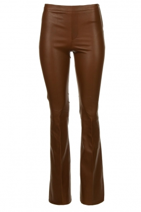 Dante 6 |  Flared stretch leather leggings Tyson | brown