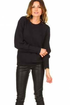 Aaiko |  Sweater with balloon sleeves Elyse | black