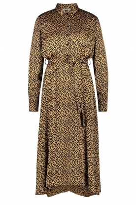 Aaiko |  Printed midi dress with belt Soila | brown