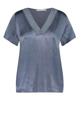 Aaiko | Top with lace Sinnie | blue