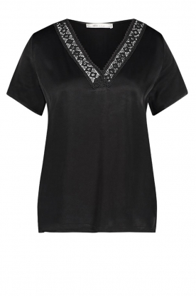 Aaiko | Top with lace v-hals Sinnie | black