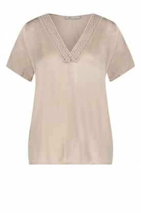 Aaiko | Top with lace v-neck Sinnie | beige