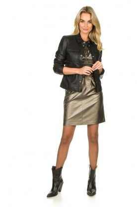 Look Faux leather metallic skirt Patia