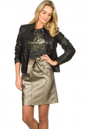 Aaiko |  Faux leather metallic skirt Patia | metallic