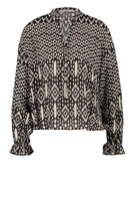 Aaiko | Printed blouse with drawstring Marlie | black