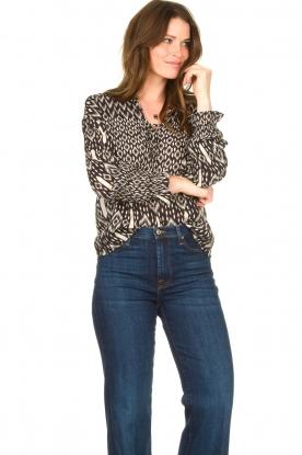Aaiko |  Printed blouse with drawstring Marlie | black