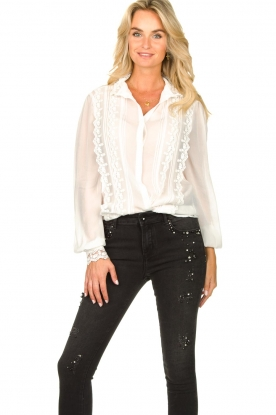 Fracomina |  Blouse with laced details Venice | white