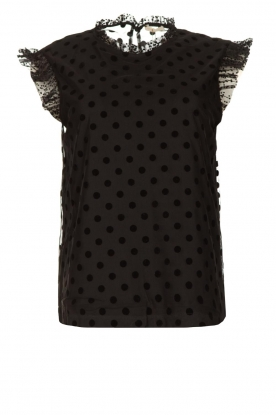 Fracomina |  Polkadot top with ruffles Dots | black