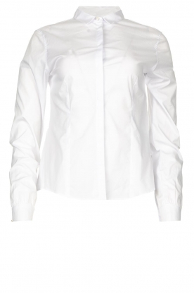 Fracomina |  Blouse with pearl buttons Pearl | white