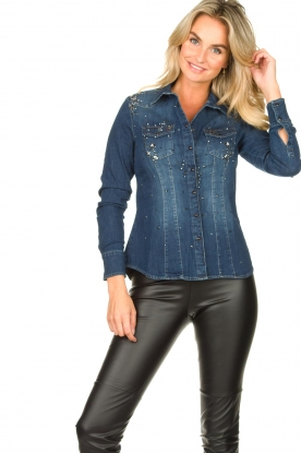 Fracomina |  Denim blouse with beads Broste | blue
