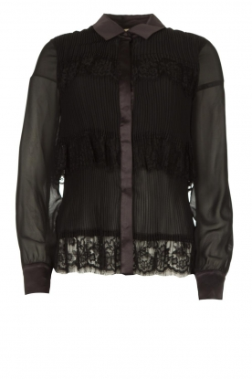 Fracomina | Plisse blouse with lace details Kela | black
