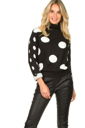 Fracomina |  Turtleneck sweater with dots Pop Up | black