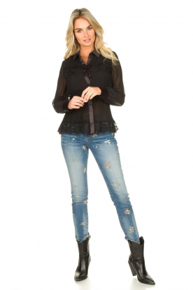 Fracomina | Jeans met geborduurde kralen Mary | blauw