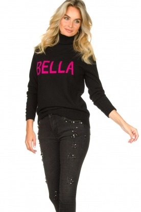 Fracomina |  Turtleneck with text Bella | black