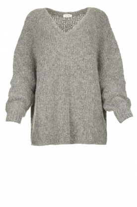 American Vintage | Soft V-neck sweater Tudbury | grey