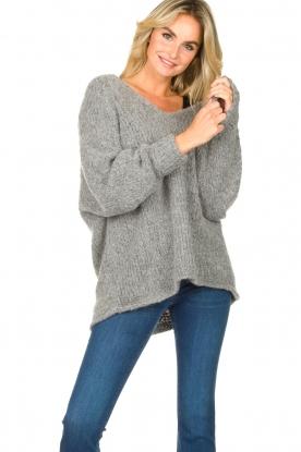 American Vintage |  Soft V-neck sweater Tudbury | grey