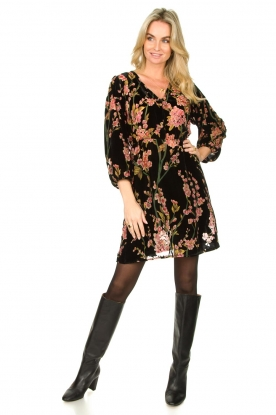 Look Velvet dress with floral print Floor