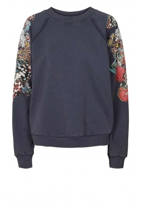 Lolly's Laundry |  Sweater with decorated sleeves Tate | dark blue