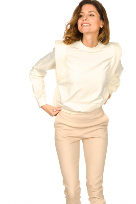 Notes Du Nord |  Cotton sweater with shoulder details Simone | natural