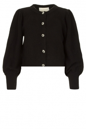 Notes Du Nord | Cardigan with balloon sleeves Savanna | black
