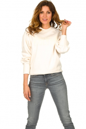 Dante 6 |  Cotton sweater with text print Love Me | natural