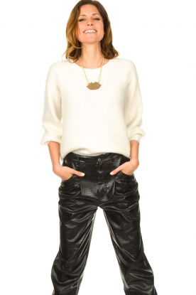 JC Sophie |  Knitted sweater with balloon sleeves Faye | white