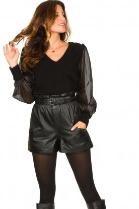 Ibana |  Leather short Sachi | black