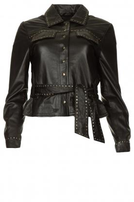 Ibana |  Leather jacket with studs Jannice | black
