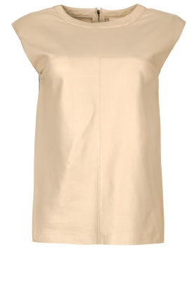 Ibana | Leather top with shoulder padding Trixy | beige