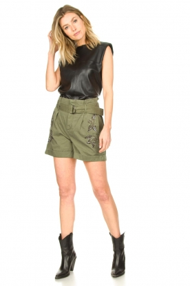 Look Leather top with shoulder padding Trixy