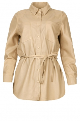 Ibana | Leather blouse Ted | beige