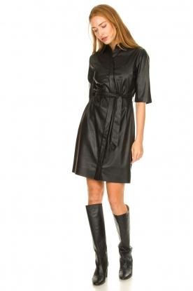 Look Faux leather midi dress Baroon