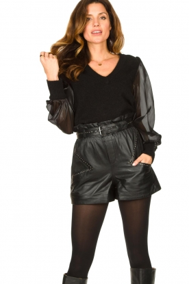 Dante 6 |  Sweater with see-through sleeves Joelle | black