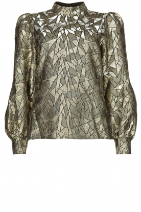 Dante 6 | Jacquard blouse with Doyes | gold