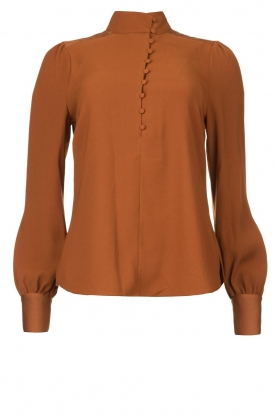 Dante 6 |  Blouse with puff sleeves Nascha | brown