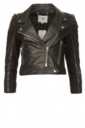 Dante 6 | Cropped leather biker jacket Jae | black