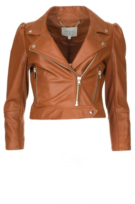 Dante 6 | Cropped leather biker jacket Jae | brown