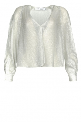 IRO |  See-through blouse with lurex Noumea | silver