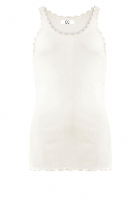 CC Heart | Silk rib top with lace Liv | white