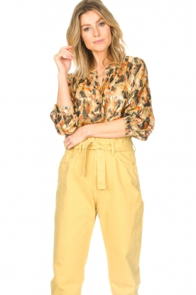 ba&sh |  Silk lurex top with print Gaby | yellow