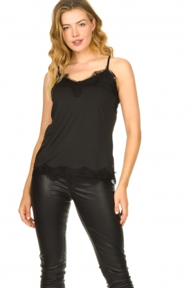 CC Heart |  Top met kant Puck | black