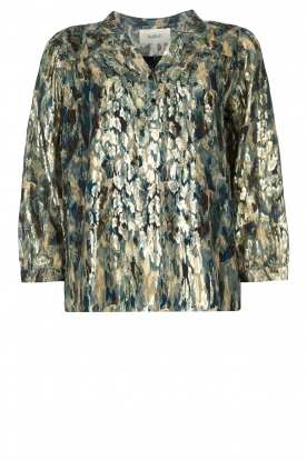 ba&sh | Silk lurex top with print Gaby | blue